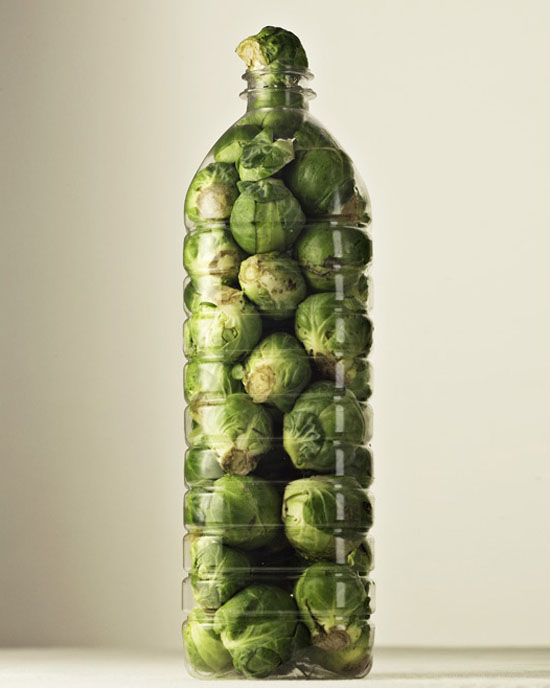 brussel sprouts in water bottle